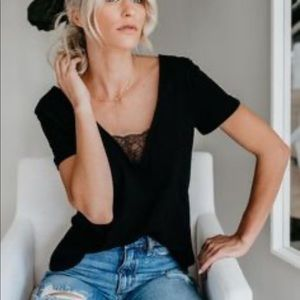 Cotton and Lace Black T-shirt